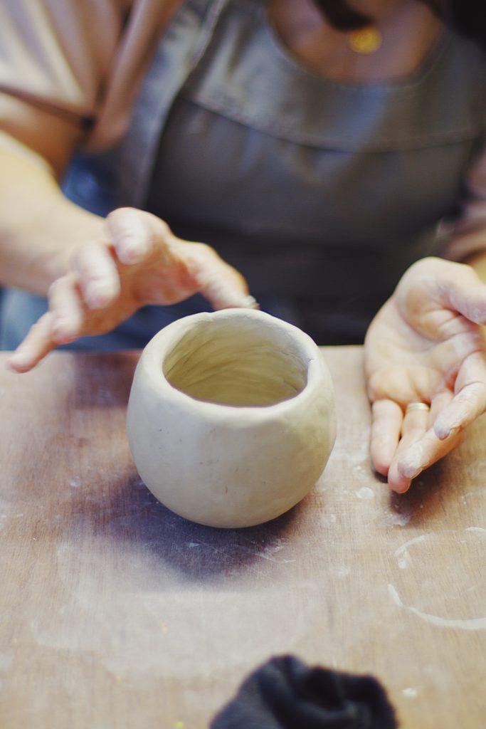 pot pincée bordeaux poterie